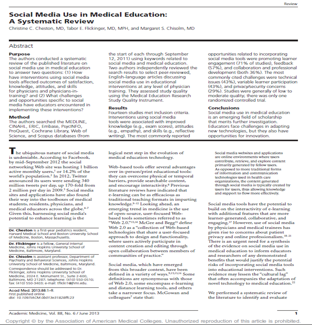 Social Media Use in Medical Education - A Systematic Review